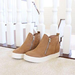 taylor tan wedge sneakers